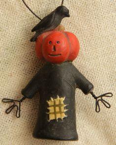 Fall, Halloween Ornament - Scarecrow Crow-Halloween Ornament,Scarecrow,Scarecrow Ornament,Crow,Primitive Halloween
