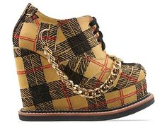 Today's So Shoe Me is the Tartan Wedge Shoe by K.T.Z., $725, available at Solestruck. Signature tartan and tough chains makes for a statement making heel that's ready to stomp around town.