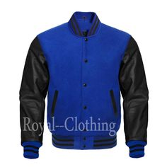 Only the softest, most durable the best wool for the body and the softest wool knit for the collar, sleeves and waistband are used. 100% high quality genuine leather. Authentic Genuine Leather Sleeves.  A fine quilt lining with Wool trimmed inside pocket are all part of the complete package. Royal Shop, Leather Sleeve Jacket, Royal Clothing, Blue Wool, Bomber Jackets, Jean Jackets, White Leather, Royal Blue, Royals