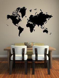 Decorar con mapas: en las paredes #DecorarConMapas #MapDecor