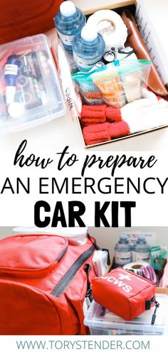 HOW TO PACK AN EMERGENCY CAR KIT - Tory Stender How to pack a go-bag for your car / essentials to keep in your vehicle for an emergency / how to pack a 72 hour bag / go-bag essential items / emergency preparedness Emergency Preparedness Checklist, Car Survival Kits, 72 Hour Emergency Kit, 72 Hour Kits, Emergency Preparation, Emergency Supplies, Disaster Preparedness, Survival Prepping, Survival Gear