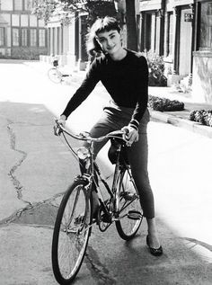 Audrey Hepburn on a bike