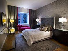 Contemporary Bedroom. The mirrored dresser is genius! http://www.hgtv.com/designers-portfolio/room/contemporary/bedrooms/9735/index.html#/id-9737/room-bedrooms?soc=pinterest