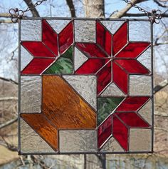 Stained Glass Panel Suncatcher Flower Basket by HillLillyDesigns, $38.00
