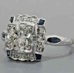 Vintage diamond and sapphire engagement ring.