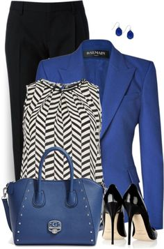 Love the shirt & Royal Blue Blazer Work Outfit Style