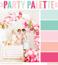 Party Palette: Color inspiration in mint green, peach and pink great for a flamingo party inspired Pink Flamingo Party, Flamingo Baby Shower, Flamingo Birthday, Pink Flamingos, Flamingo Cake, Balloon Garland, Balloon Arch, Balloon Decorations, Wedding Decorations
