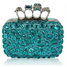 Alexander McQueen Teal Jeweled Box Clutch