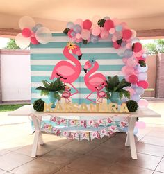 Flamingo back drop Pink Flamingo Party, Flamingo Birthday, Luau Birthday, 1st Birthday Parties, Birthday Party Decorations, Luau Party, Party Time, Images, Google