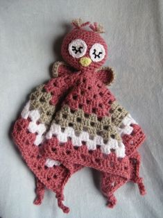 Crochet Owl Security Blanket Lovey.