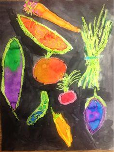 Mrs. Knights Smartest Artists: watercolor vegetables (Miroco Machiko)