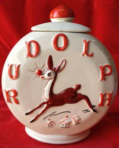 """RARE Antique Vintage American Bisque """"Rudolph"""" cookie jar - I collect vintage Rudolph Reindeer and I am so lucky to own one of these!"""
