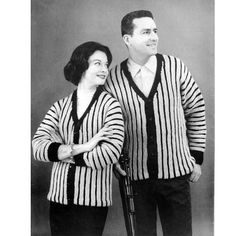 This dual his and hers knitting pattern is a great striped motif in a primary and secondary color.   For him, it is sized small, medium and large to fit men 36 to 46.