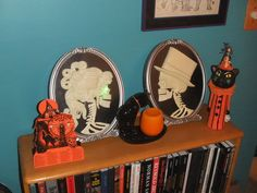Animated Skeleton Cameos from Spirit of Halloween.  They class up the joint.