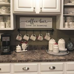 18 Charming DIY Coffee Station Ideas for All Coffee Lovers - f. - Recipes - 18 Charming DIY Coffee Station Ideas for All Coffee Lovers - f. 18 Charming DIY Coffee Station Ideas for All Coffee Lovers - fancydecors - Coffee Counter, Coffee Bars In Kitchen, Coffee Bar Home, Home Coffee Stations, Coffee Kitchen Decor, Counter Tops, Coffee Station Kitchen, Coffee Area, Coffee Nook