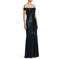 e95e047f1cce Badgley Mischka Ruched Sequined Gown (875 CAD) ❤ liked on Polyvore  featuring dresses