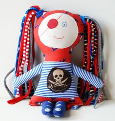 FREE SHIPPING Handmade  pirate rag textile doll fabric cotton