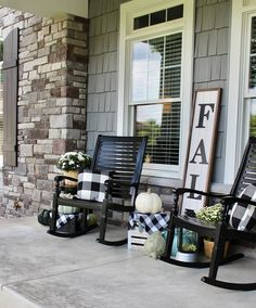 NINE'S FALL FRONT PORCH Neutral and welcoming Fall Front Porch with white pumpkins, mums and buffalo check!Neutral and welcoming Fall Front Porch with white pumpkins, mums and buffalo check! Farmhouse Front Porches, Rustic Farmhouse, Farmhouse Style, Fall Home Decor, Autumn Home, Veranda Design, Front Porch Design, Decorating On A Budget, Fall Decorating