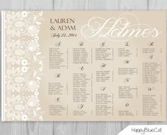 Rustic Lace Wedding Seating Chart Wedding Seating by HappyBlueCat, $35.00