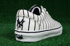 Pinstriped Sneakers!  New York Yankees    http://www.sneakerfreaker.com