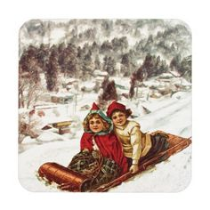 Vintage Snowy Victorian Christmas by Shawna Mac Beverage Coasters for Traditional Home Decorating Ideas