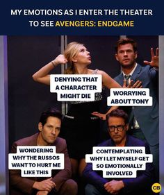 My emotions as I enter the theater to see Avengers Endgame Marvel Jokes, Avengers Memes, Marvel Funny, Marvel Heroes, Captain Marvel, Marvel Avengers, Marvel Comics, Marvel Facts, Disney Marvel