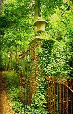 Ivy-shadowed gates, seemingly forgotten by all but time. Entrance to the Castle Park - Bruges  | by © kelsk