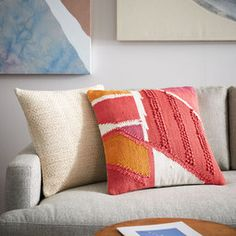 Chindi Colourblock Shag Cushion Cover - Poppy