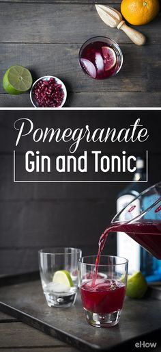 Super refreshing and tasty drink for the adults! Pomegranate gin and tonics are a great option because while they're not cloying, the citrus and fruit juice add just the right amount of sweetness. Gin & Tonic Cocktails, Gin And Tonic, Tonic Water, Pomegranate Gin, Bar Drinks, Beverages, Alcohol Recipes, Gin Recipes, Slushies