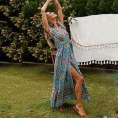 2021 Summer New Women's Long Dress V-neck Floral Dress | Etsy Maxis, Nice Dresses, Summer Dresses, Maxi Dresses, Style Boho, Floral Style, Deep V Dress, Greta, Boho Floral Dress
