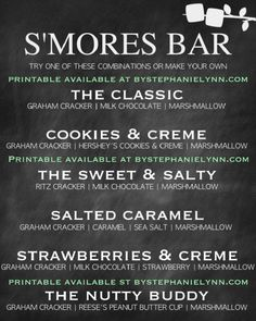 28 new ideas for camping food smores party ideas Sangria Bar, Chili Bar, Bruschetta Bar, Grad Parties, Holiday Parties, S'mores Bar, Partys, Sweet And Salty, Party Printables