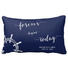 Forever Nautical Navy Blue Lumbar Wedding Pillows - tap to personalize and get yours