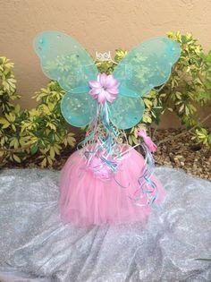 Fairy Princess Blue Butterfly wings Pink Tutu Flower Wand Party Favors | partiesandfun - Children's on ArtFire