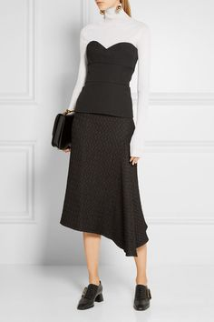 Black wool-gabardine Hook and zip fastening at back  100% wool; lining: 100%…