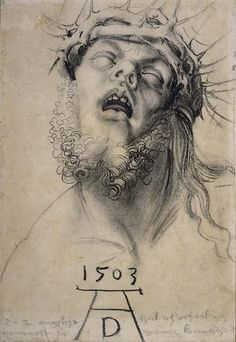 Albrecht Dürer, Head of the dead Christ, 1503, charcoal, 310x221 mm, British…
