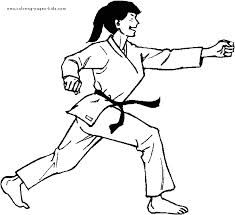 Karate Kid Doing Palm Heel Kick Coloring Page