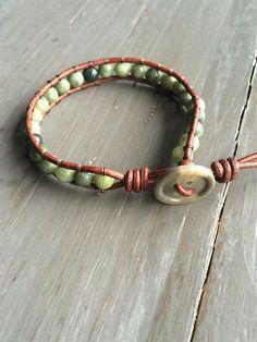 Single wrap leather beaded bracelets