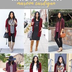 9 Outfits with a Maroon Cardigan Maroon Cardigan Outfit, Cardigan Outfits, Burgundy Sweater, Hijab Outfit, Basic Outfits, Simple Outfits, Cute Outfits, Work Outfits, Casual Outfits