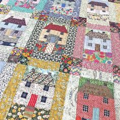 Gorgeous houses by on IG - thanks for coming into the studio to show us your amazing Sweet little houses Great houses and colors House Quilt Patterns, House Quilt Block, Quilt Block Patterns, Quilt Blocks, Rag Quilt, Scrappy Quilts, Mini Quilts, Quilting Projects, Quilting Designs