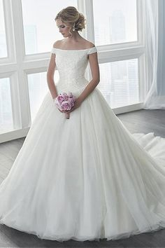 A-line Off Shoulder Chapel Train Chiffon Wedding Dress Beading