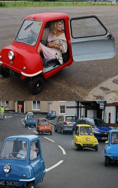 Peel microcars were built in Peel, Isle of Man in the 1960's by Peel Engineering. Two main models were produced in limited numbers: the two passenger Trident and one passenger P50. At just 54 inches in length, the P50 remains the world's smallest production car.