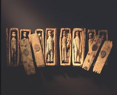 Mysterious~ In June 1836 five young boys, hunting for rabbits on the north-eastern slopes Arthur's Seat, Edinburgh, found 17 miniature coffins hidden inside a cave.    They were arranged under slates on three tiers, two tiers of eight and one solitary coffin on the top. Each coffin, only 95mm in length, contained a little wooden figure, expertly carved with painted black boots and custom made clothes.Read  more here-http://www.nms.ac.uk/highlights/objects_in_focus/arthurs_seat_coffins.aspx