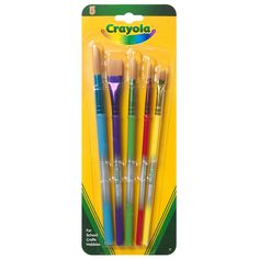 Paint brush set Great addition to any child's paint set Made of 100% natural hair Assorted colors 5 per card