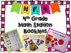 Hands-On Math Station Booklet - NF. 4 {Multiplying Fractions by Whole Numbers} Multiplying Fractions, Multiplication, School Stuff, Back To School, 4th Grade Math, Math Stations, Elementary Math, Math Resources, Booklet
