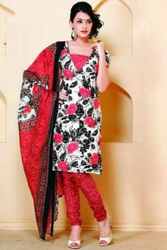 Off-white and Black Cotton Printed Casual and Party Churidar Kameez Sku Code:372-4326SL99872 $ 40.00