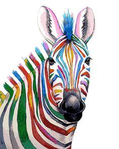 Colourful ZEBRA Art Signed Print from an original watercolour painting by artist Maria Moss. Available in 4 sizes. Arte Zebra, Zebra Kunst, Zebra Art, Giraffe Art, Rainbow Zebra, Rainbow Colors, Watercolor Animals, Watercolor Paintings, Coloring Canvas