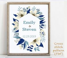 Wedding Cross Stitch Patterns, Modern Cross Stitch Patterns, Alphabet And Numbers, Cross Stitching, Print Patterns, Wedding Gifts, Hand Embroidery, Floral Wreath, Quilting