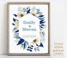 Wedding Cross Stitch Patterns, Modern Cross Stitch Patterns, Alphabet And Numbers, Cross Stitching, Print Patterns, Wedding Gifts, Floral Wreath, Quilting, Anniversary