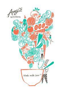 Amy's Kitchen - Tea towel illustration on Behance