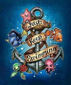 Finding Nemo Diamond Painting Kit, Just Keep Swimming Anchor - Full Square/Round Drill DIY Diamond Art Disney Kunst, Arte Disney, Disney Art, Disney Movies, Disney Pixar, Disney Tattoos, Animation, Image Deco, Disney Sleeve